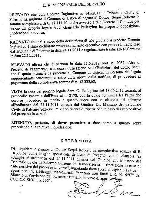 Liquidazione  Dottor Sequi esecuzione Ordinanza Giudice Tribunale Civile Palermo