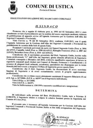 Determinazione del sindaco n. 29 del 16.09.2013 – Individuazione del Segretario Comunale