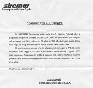 Proclamazione sciopero personale marittimo – Siremar –