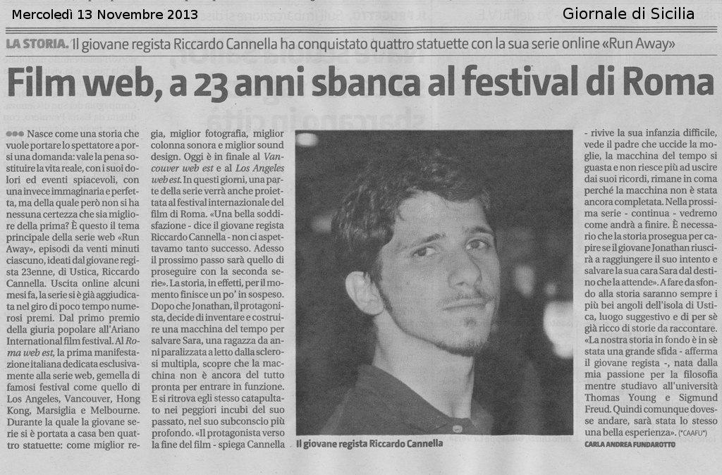 """Riccardo Cannella, nostro giovane Regista, con """"Run Awai"""" sbarca al festival di Roma"""