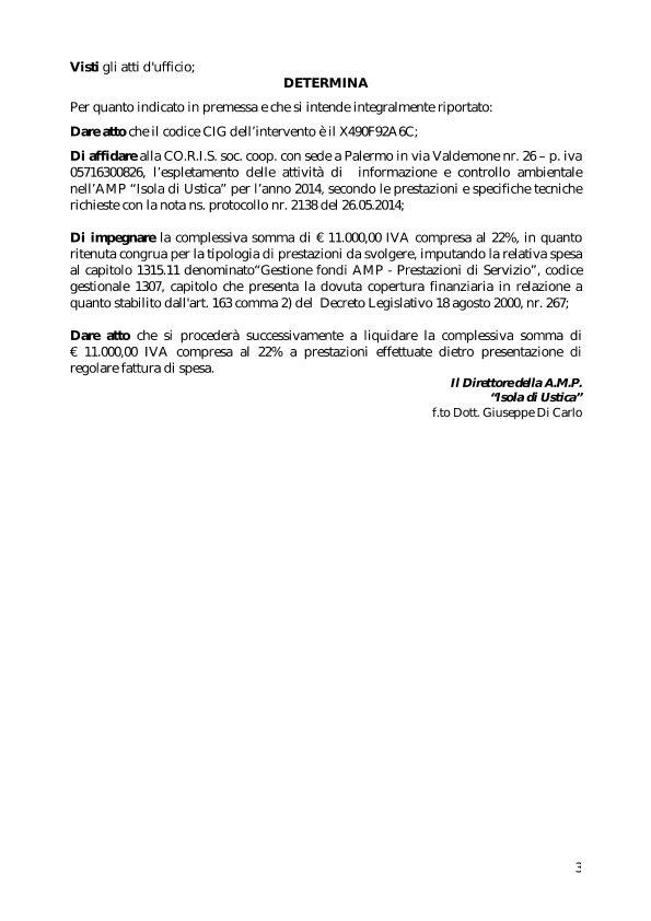 Affidamento alla CO.RI.S attività informazioni  e controllo ambientale AMP Ustica