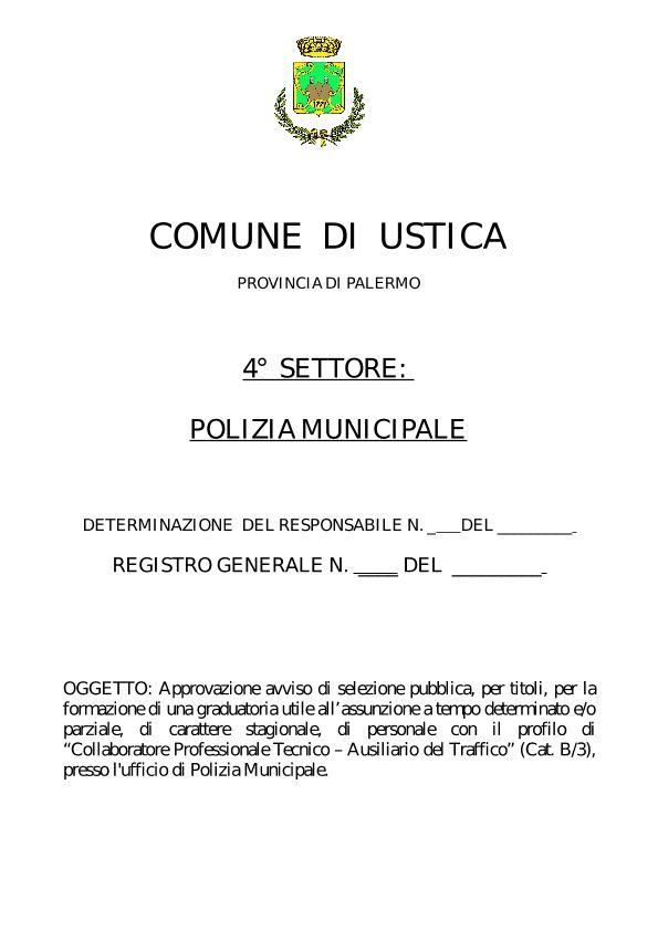 Approvazione Avviso selezione Ausiliario Traffico Polizia Municipale Ustica