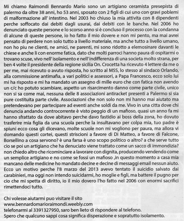 Bernardo Mario Raimondi - vittima di Usura