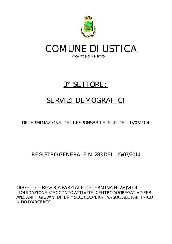 Revoca parziale determina n. 220/2014 – Soc. Cooperativa Sociale Partinico Nido D'Argento