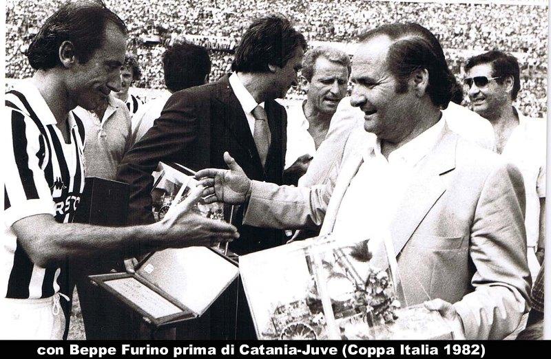 Beppe Furino con il presidente del Catania Angelo Massimino