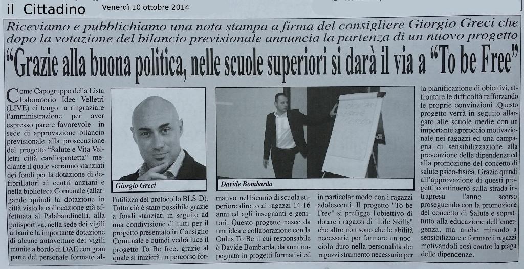 Davide Bombarda to Be free