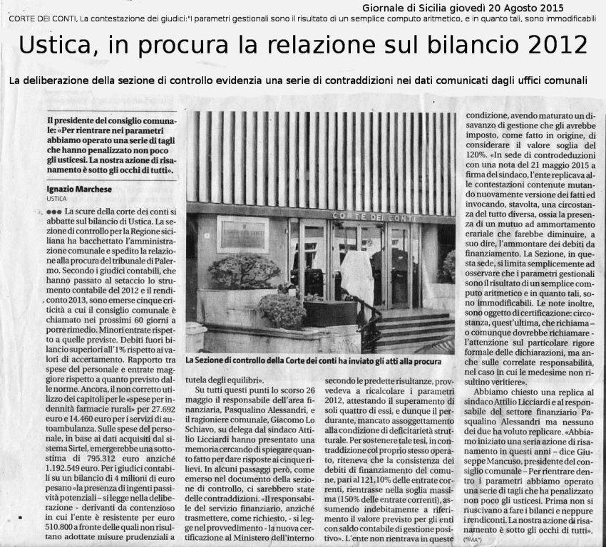 In procura la relazione sul bilancio 2012