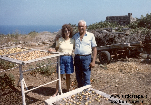 Ustica, Rose and Zio Lillo with Drying Figs, 1985