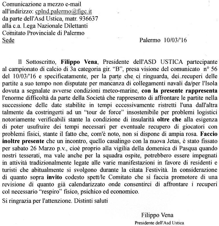 Comunicazione dell'Asd Ustica all'attenzione della L.N.D. Comitato Provinciale di Palermo