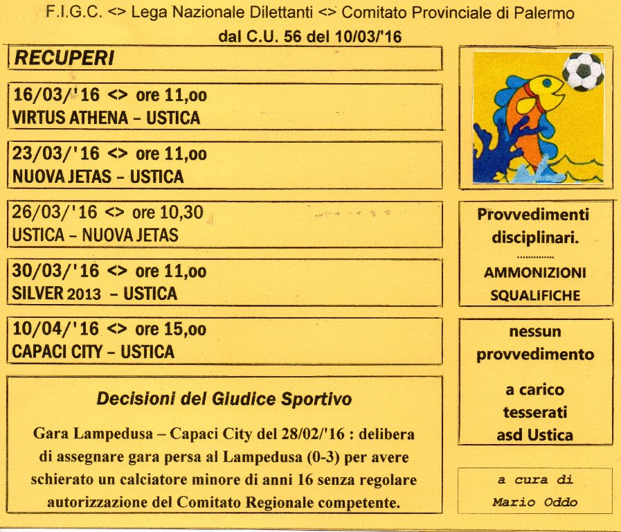 """Campionato di 3^ ctg., gir. """"B""""- Date e orari dei recuperi fissati dalla LND, Comitato Prov.le PA"""