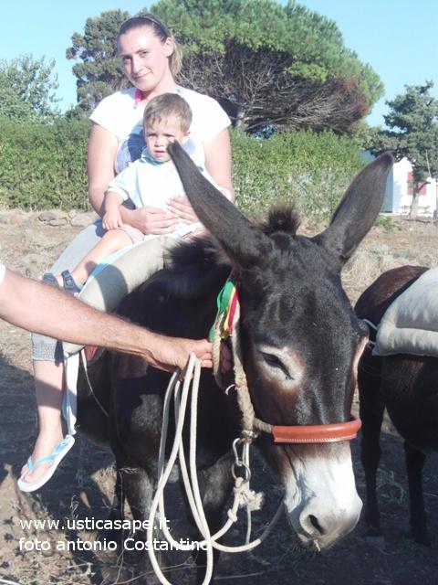 Il piccolo Arturo prova l'emozione di un giro sull'asino
