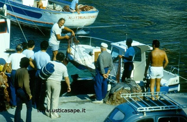 Pescatore mostra pesce impigliato nelle reti