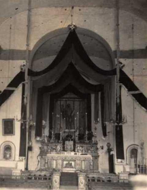 Addobbo chiesa i iccasione festa di San Bartolo.