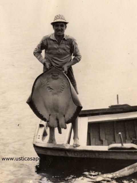 pescatore di Ustica con un grosso pesce razza