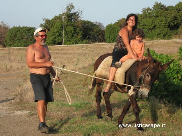 Ustica, in giro con un asino capriccioso