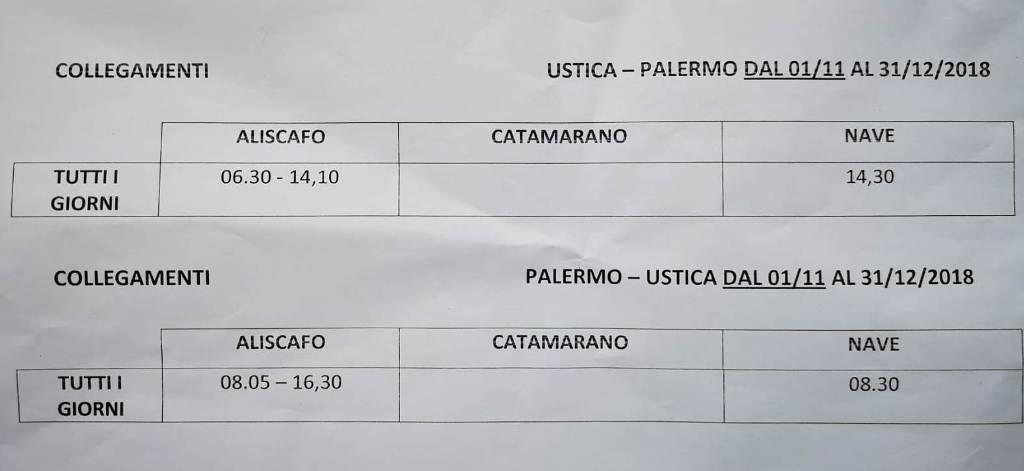 Collegamenti Ustica - Palermo e viceversa